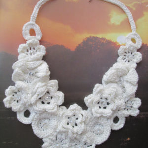 Wedding Bride Crochet Ecru Floral Motif Amazing Unique Original Hand Made Feminine Necklace