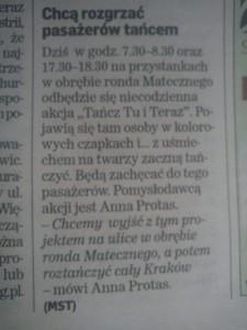 Dziennik Polski o akcji Tańcz Tu i Teraz