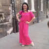 Letnia Różowa Długa Sukienka Mocy